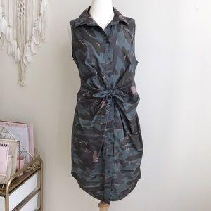 Moda international Button Front Camouflage Dress